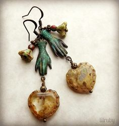 Sunday earrings 2/8/15 Made with B'Sue rusty black hands that I verdigris'd and rustic Czech glass hearts