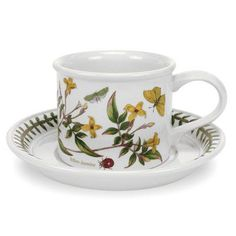 Portmeirion Botanical Garden Assorted Drum Shaped Breakfast Cups and Saucers - Set of 6 - 60050