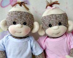 PDF PATTERN and supplies Baby Sock Monkey van LaliDolls op Etsy