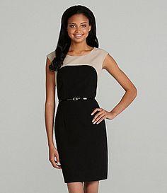 Calvin Klein Colorblock Belted Dress #Dillards