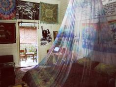 A tie-dyed mosquito net.