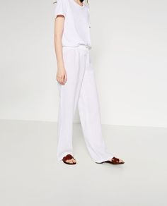 Image 2 of BASIC LINEN TROUSERS from Zara
