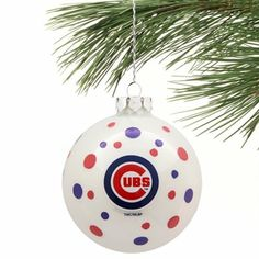 Chicago Cubs Polka Dot Ball Ornament - Navy Blue/Red
