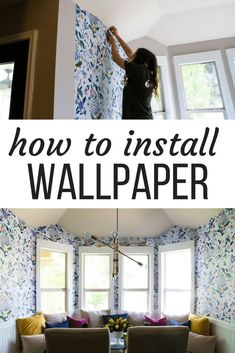 Obsessed with my friend's dining area makeover! How to install wallpaper. This Anthropologie Sylvia wallpaper is absolutely gorgeous and makes a huge statement in this dining nook! Learn how to hang wallpaper in your own dining room! Wallpaper Ceiling, Kitchen Wallpaper, Diy Wallpaper, Hanging Wallpaper, Wallpaper Installation, Decorating Your Home, Diy Home Decor, Decor Crafts, Anthropologie Wallpaper