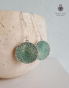 Silber Ohrringe - Lange Ohrringe *Mandala* 925Ag grün/weiß - ein Designerstück von Constanze-Janke-Schmuckdesign bei DaWanda