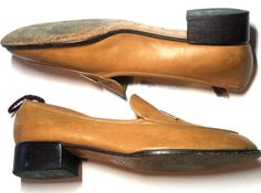 Camel Colored Leather Loafers w/ Stacked Heel 9 circa 1980s Gucci - Dorothea's Closet Vintage