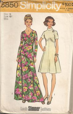 Simplicity 5850; Look Slimmer Misses and Womens Dress in Two Lengths Bust 40 ©1973  The dress with flared skirt stitched to shaped bodice above normal