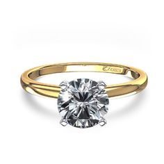 Timeless Four-Prong 1 ctw Round Solitaire Engagement Ring in 14k Yellow Gold .95 quilates