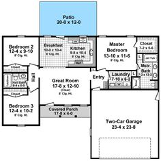 Downsizing house plan 141 1152 could knock out a for Usda approved builders