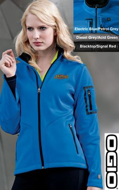 #ogio #ladies #minx #womens #jackets $58.98 100% poly interlock bonded to 12-ounce, 100% poly microfleece; zip-through cadet collar with rib knit detail; contrast color inner layer; debossed OGIO at back neck; OGIO heat transfer label for tag free comfort; welded zippered pocket with OGIO zipper pull on left sleeve; reverse coil zipper with OGIO zipper pull; two front zippered pockets with OGIO zipper pulls; rib knit insets at cuffs; shaped open cuffs; OGIO badge on lower left sleeve; open…