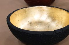 Gold Leaf Bowl - An inexpensive wood salad bowl transforms into a luxurious gold vessel with a little gold leaf.