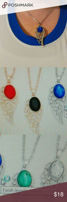 Australian Crystal Angel Wing Pendant Beautiful pendants from Farah jewelry. Lengh of necklace is 27 cm decor is 2.25 cm.  Crystals and metal are made from alloy and brass and gold dipped. Brand new in original package. Blue was opened only to model. Prior to checking out for purchase please letme know what color you want. Red, green, blue, black or yellow. Right now I only have one of each.  Thank you. Any questions please ask. Happy poshing! Farah Jewelry Jewelry Necklaces