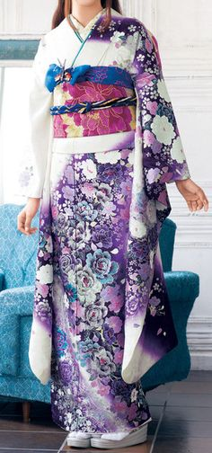 Purple, white, magenta and blue Japanese kimono.- I want a Kimono Japanese Outfits, Japanese Fashion, Asian Fashion, Japanese Clothing, Japanese Geisha, Furisode Kimono, Kimono Dress, Floral Kimono, Silk Kimono