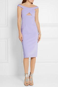 Lavender neoprene Concealed hook and zip fastening at back 75% nylon, 25% elastane; lining: 100% silk Dry clean