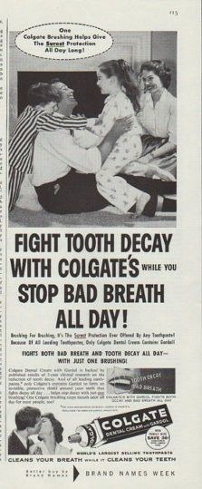 """Description: 1958 COLGATE DENTAL CREAM vintage magazine advertisement """"Fight Tooth Decay"""" -- Fight tooth decay with Colgate's while you stop bad breath all day! Because of all leading toothpastes, only Colgate Dental Cream contains Gardol! -- Size: The dimensions of the half-page advertisement are approximately 5.25 inches x 13.5 inches (13.25 cm x 34.25 cm). Condition: This original vintage half-page advertisement is in Excellent Condition unless otherwise noted."""