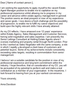 Estate Agent Cover Letter Sample
