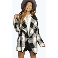 Boohoo Grace Boucle Check Waterfall Jacket ($46) ❤ liked on Polyvore featuring outerwear, jackets, black, kimono jacket, floral kimono jacket, floral kimono, moto jacket and biker jacket