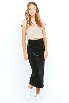 Pins & Needles Black Velvet Column Midi Skirt - Urban Outfitters