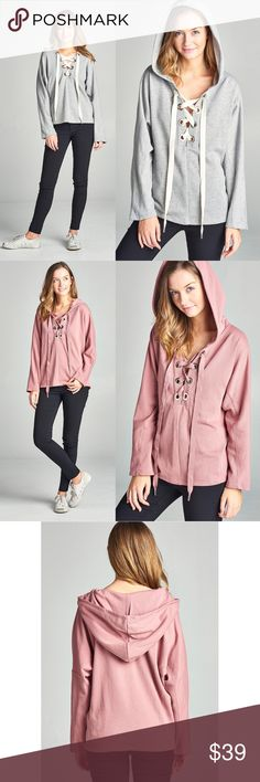 DYLAN Hoodie Top - H. GREY Casual and chic!    AVAILABLE IN D. PINK & H. GREY  PRICE FIRM Bellanblue Tops