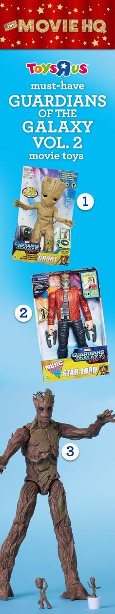 "Looking for must-have toys featuring Marvel's offbeat cosmic crusaders? We've got your inspiration: Check out these stellar toys from Guardians of the Galaxy Vol. 2. Get the toys, see the movie! #TRUMovieHQ 1. Marvel Dancing Groot figure (SKN: 725093) 2. Marvel Music Mix 12"" Star-Lord figure (SKN: 724979) 3. Marvel Legends 9"" Groot figure 3-pk. (156806), available only at Toys""R""Us!"
