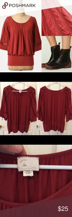 Anthropologie framed sleeve tee by postmark Size large. Gorgeous sleeve design & super soft material. Gently used. 🙆🏻no trades or off site transactions. 🙅🏻Low ball offers will be denied. 💁🏻I believe my prices are already low enough and are very fair. I do have an illness 😷 & 2 little ones 👶🏻 so if I don't respond I'm either very ill that day 🚑 or have been kidnapped by my children🙍🏻Thank you for shopping my closet💋 Anthropologie Tops