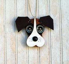 Boxer Dog Dog Ornament Recycled Hand Made von KingsBenchCreations