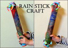 Finger paint rain stick craft ~Little Scribblers Art Club~