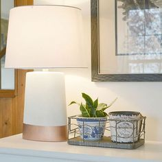 DIY Home Decor | This $1 yard sale lamp was made over with a new shade and coat of paint. I love the gold dipped look!