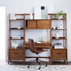 Buy west elm Mid-Century Wall Desk from our Office Desks range at John Lewis & Partners. West Elm Mid Century, Mid Century Desk, Mid Century Style, Computer Desk With Shelves, Desk Shelves, Narrow Shelves, Wall Unit With Desk, Desk Bookshelf Combo, Desk With Storage