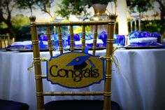 graduation chair covers at DuckDuckGo Graduation Theme, Graduation Decorations, Graduation Ideas, Ribbon Cards, Color Pick, School Colors, Grad Parties, Chair Covers, Event Design
