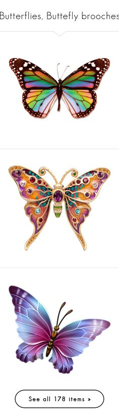 """""""Butterflies, Buttefly brooches"""" by judymjohnson ❤ liked on Polyvore featuring butterflies, animals, backgrounds, rainbow, fillers, art, jewelry, brooches, accessories and animal brooch"""