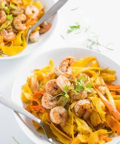 Delicate ribbons of carrots are tossed in browned butter with parsley, sage, rosemary, and thyme and topped with shrimp to make a fresh, flavorful, beautiful, and healthy meal. Paleo and gluten free too! | www.pinchmeimeating.com