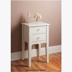 Taylor & Brown®, Victoria consolle in stile casual chic, cassettiera o tavolino, White, 2 Drawer Side Table
