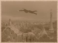 Autora: Esther    Comentario: He elegido un sueño que he tenido varias veces y que ojalá lo tuviera todos los días, porque me lo paso genial. En el sueño estoy volando y esquivo los edificios, siempre suele ser así, aunque en una ocasión también soñé que tenía un elefante de mascota. Así que he unido mis dos sueños favoritos.