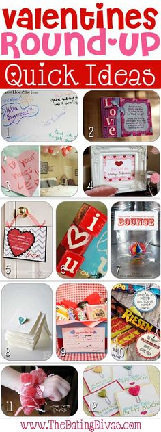 A round-up of Valentine's ideas that can be done in 30 minutes or less.  Yes, please! #vday #valentines #datingdivas  www.TheDatingDivas.com