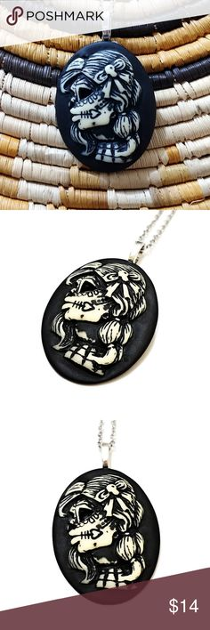 """The Harlequin Gothic Cameo Necklace 🛍️ 30%OFF ALL BUNDLES!  💌 ACCEPTING OFFERS  The HARLEQUIN cameo necklace! Features a resin cabochon with a beautiful skeleton girl attached to a silver metal bail. Hung on an 18""""stainless steel chain. This is a Bright Eyes original and there is only one in existence, so snag this baby today ✌️ Jewelry Necklaces"""