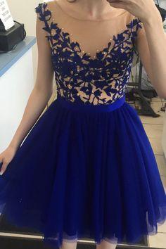 Cute Bateau Cap Sleeves Short Royal Blue Homecoming Dress With Beading Open Back