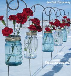 flower frog, jar hang, hanging flowers, pew decorations, wedding ceremony flowers, outdoor events, jar lights, mason jars, hang flower
