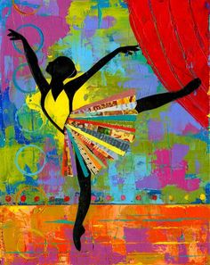 Colorful Black Ballerina Dancer Broadway impasto art of dance byartist Elizabeth Rosen