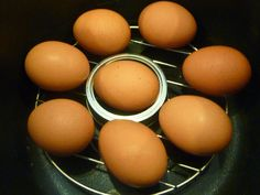 'Hard boiled' (pressure steamed) eggs were the first things I ever made in my pressure cooker. I love it -- they come out perfect every time and delightfully easy to peel! Look at the shell in the ...