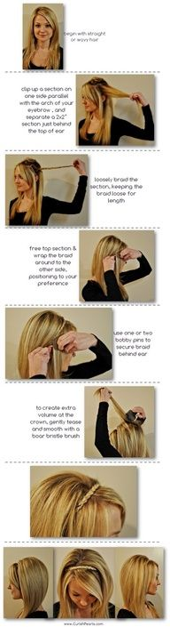 This is super cute and easy to do. And coming from me where I cant manage to make hair look nice done anyway but straightened, is saying something. You do need long hair though.. Or a smaller head than me to make the braid go completely across your head