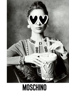 Moschino fall 2014: For his first Moschino campaign, Jeremy Scott pulled out the big guns — Steven Meisel captured supermodels Linda Evangelista, Carolyn Murphy, Karen Elson, Raquel Zimmermann, Stella Tennant and Saskia de Brauw in Scott's junk culture-inspired looks from the fall collection. // FLAT 128