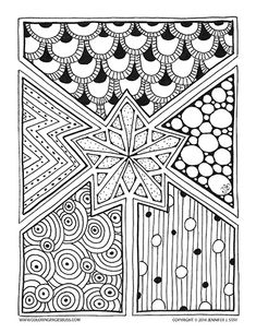 Snowflake star coloring page. Hand drawn Zentangle inspired.