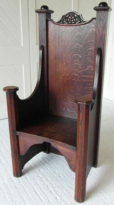Arts & Crafts oak throne chair by A Lyles 1905