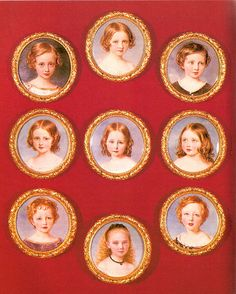 Miniatures of Queen Victoria and Prince Albert's nine children. In birth order: 1. Victoria Adelaide Mary Louise b.1840. 2. Albert Edward b. 1841. 3. Alice Maud Mary b. 1843, 4, Alfred Ernest Albert  b. 1844. 5. Helena Augusta Victoria b. 1846. 6. Louise Caroline Alberta b. 1848. 7. Arthur William Patrick Albert b. 1850. 8, Leopold George Duncan Albert b. 1853. 9. Beatrice Mary Victoria Feodore b. 1857.