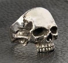 Skull Ring Silver Skull Ring Half Jaw Mens skull by DeadRings