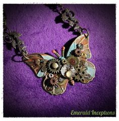Steampunk Butterfly Necklace ~ Amber, Rust, Turquoise