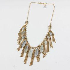 Clear Tassels Pendants Gemstones Matinee Necklace