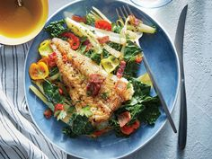 Seared Cod with Bacon, Braised Fennel, and Kale