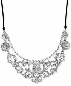 Betsey Johnson Silver-Tone Crystal Accent Frontal Necklace